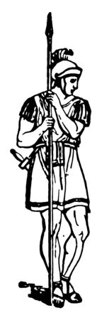 In this image there are three Roman soldiers. They are with weapons in their hands, vintage line drawing or engraving illustration.