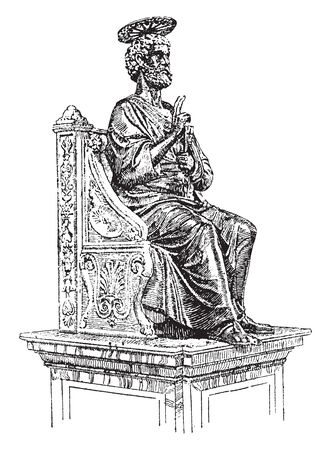 Statue of St Peter is an Italian Renaissance church in Vatican City, vintage line drawing or engraving illustration.