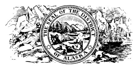 Seal of Alaska was adopted before statehood of Alaska. This seal is designed with glaciers, igloos, eskimos and lights  vintage line drawing.