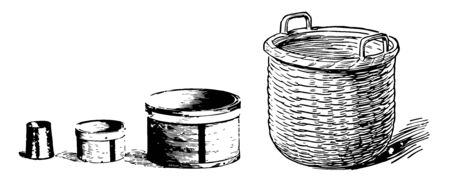 Picture shows the Comparison of the size of a pint, quart, peck, and bushel, vintage line drawing or engraving illustration.