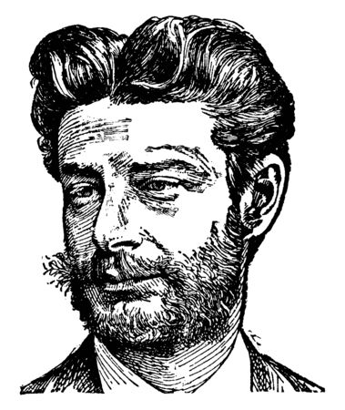 Georg Brandes, 1842-1927, he was a Danish critic and scholar, vintage line drawing or engraving illustration