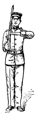 Rifle Salute Carry the left hand smartly to the small of the stock, vintage line drawing or engraving illustration.