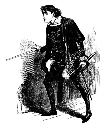 Hamlet, this scene shows a young boy holding sword in right hand and fire torch in left hand and walking, vintage line drawing or engraving illustration Illustration