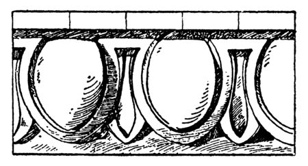 Campana Egg-and-Tongue Moulding is an egg pattern, the cladding tile, bands and campana, vintage line drawing or engraving illustration.