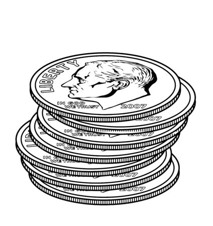 The Picture shows the 7 Dimes coin. This coin is 90% Silver with a silver weight of around troy ounce pure silver. The other 10% is copper having no significant intrinsic value, vintage line drawing or engraving illustration.