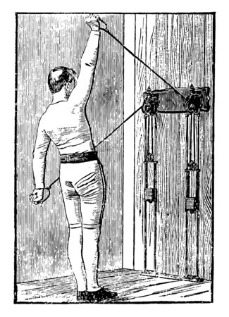 A man exercising by pulling weights tied on machine from both arms. In this exercise, he is standing straight and pulled string with left arm while his right arm is relaxed and facing up, vintage line drawing or engraving illustration.