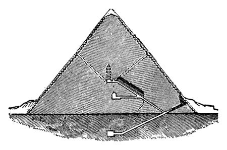 Great Pyramid Section, Pyramid of Cheops, masterpiece, rightly earned, process of construction, vintage line drawing or engraving illustration. 向量圖像