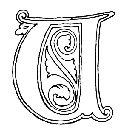 This illustration represents Gothic Uncial of V, vintage line drawing or engraving illustration.