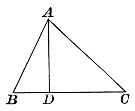 This is an image of Triangle ABC with interior segment AD, vintage line drawing or engraving illustration.