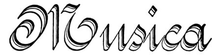 Musica characterized by strong curves with exaggerated shading, vintage line drawing or engraving illustration.