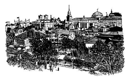 State buildings in Atlanta, Georgia vintage line drawing.