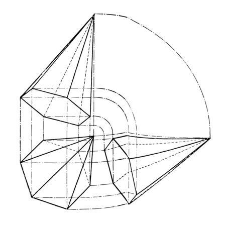The image shows the projection of a hexagonal pyramid inclined obliquely, vintage line drawing or engraving illustration. 向量圖像