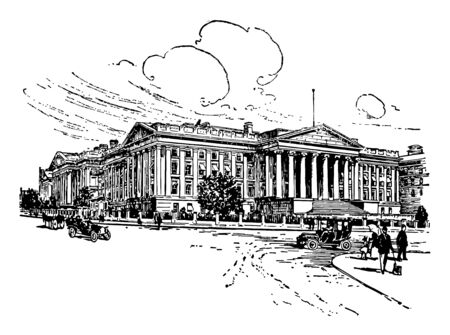 United state treasury department is an executive department established in 1789 vintage line drawing.
