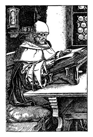 Man Reading Book, stand, table, older religious, vintage line drawing or engraving illustration.