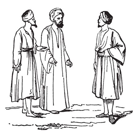 Modern Syrians which included modern day Lebanon and Syria west of the Euphrates, vintage line drawing or engraving illustration.