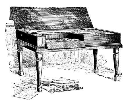 Mozart Spinet plucked by means of a quill or a plectrum of leather, vintage line drawing or engraving illustration.