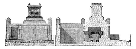 Tomb of Naevoleia Tyche at Pompeii,  smaller dimensions various forms, abnormal decorations were employed, vintage line drawing or engraving illustration.