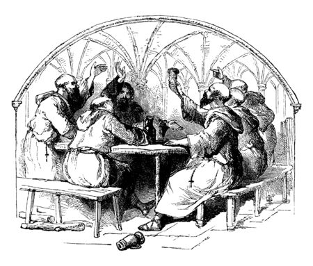 A group of monks sit on chairs & talking with each other's. They are drinking something in a pot. They has wearing gown, vintage line drawing or engraving illustration.