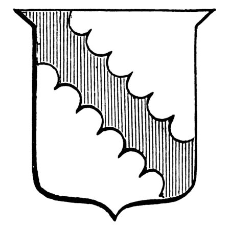 Engrailed Bend is an engrailed gules red bend, vintage line drawing or engraving illustration.