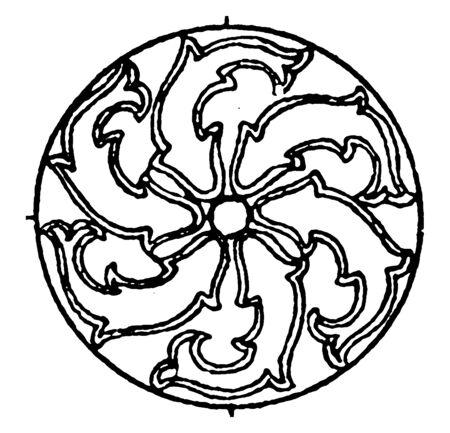 Arabian Circular Panel is a sunken decoration on a metal plaque, vintage line drawing or engraving illustration. Ilustrace