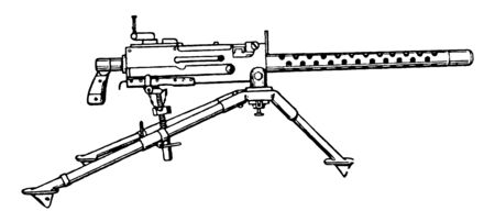 Browning Machine Gun was used as a light infantry, vintage line drawing or engraving illustration.