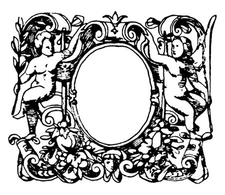 Printers-Mark Typographical Frame was designed during the Italian Renaissance, vintage line drawing or engraving illustration. Çizim
