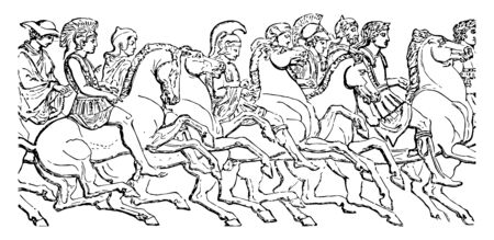 The Panathenaic procession where Greeks are riding horses, vintage line drawing or engraving illustration.