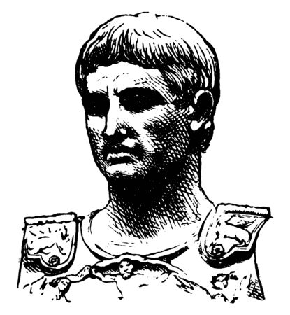 Augustus Caesar, 63 BC-AD 14, he was the  founder of the Roman Principate and the first Roman emperor, vintage line drawing or engraving illustration