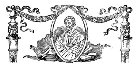 A statue of the Attic orator, Aeschines, vintage line drawing or engraving illustration.