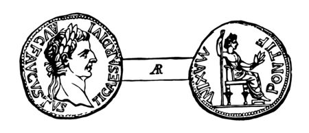 Image showing the reverse side of the coin, where on one side is engraved the emperors bust and on the other side a person sits on the chair, vintage line drawing or engraving illustration.