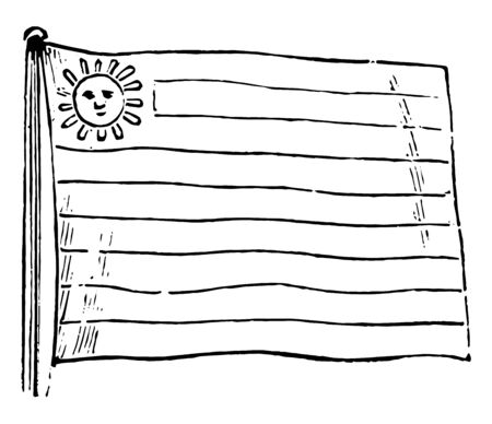 Uruguay Flag, this flag has seven equal horizontal bands, it has sun with rays in canton, vintage line drawing or engraving illustration