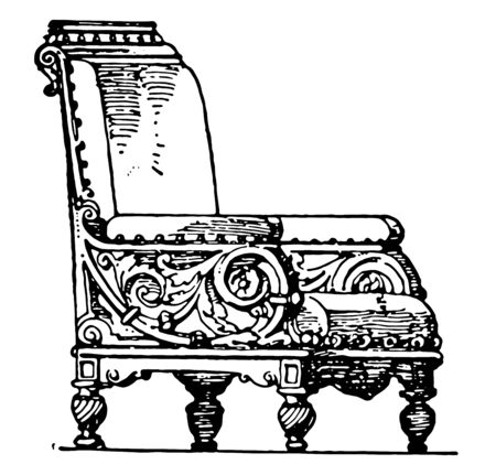 Modern arm chair has center seat and backrest covered with soft padded material, Back of chair extends above head, vintage line drawing or engraving illustration