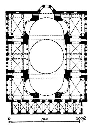 Plan of Hagia Sophia is former patriarchal basilica, later a mosque,  massive dome,  Byzantine architecture, cathedral, design, vintage line drawing or engraving illustration. Ilustração
