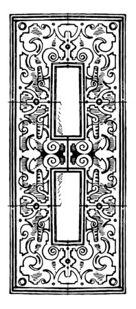 Modern Architectural Frame was made in the style of the German Renaissance, It has an oblong shape in the center, vintage line drawing or engraving illustration. Ilustração