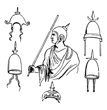 An image showing different types of hats and helmets worn by the Romans, vintage line drawing or engraving illustration.