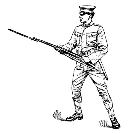 Left Handed Rifle where the men may be permitted to wield the rifle left handed, vintage line drawing or engraving illustration.