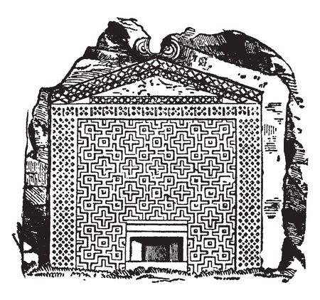 Tomb of Midas is the name of at least three members of the royal house of Phrygia, vintage line drawing or engraving illustration.