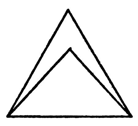 The image shows two equilateral and isosceles triangles. And two triangles are the same as the base, vintage line drawing or engraving illustration.