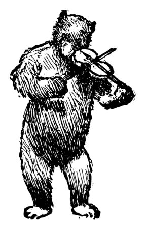 Bear Playing Violin, this picture shows a bear playing violin-musical instrument, vintage line drawing or engraving illustration
