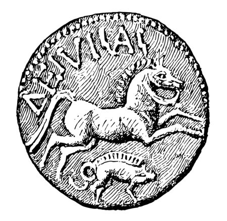 Coin with an energetic horse image, vintage line drawing or engraving illustration.