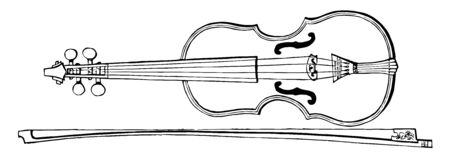 Violin and Bow is part of the bowed string family, vintage line drawing or engraving illustration.