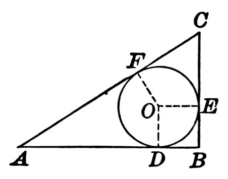 An image showing the diameter of a circle inscribed in a right triangle is equal to the difference between the sum of the legs and the hypotenuse, vintage line drawing or engraving illustration.