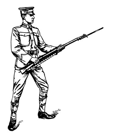 Bayonet Guard at the same time throw the rifle smartly to the front, vintage line drawing or engraving illustration. Illustration