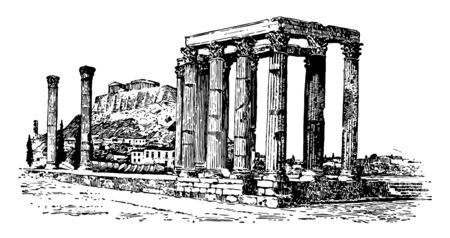 The ruins of Olympieum, vintage line drawing or engraving illustration.