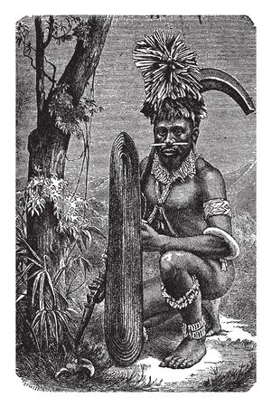 Papuan Warrior are a race native to New Guinea, vintage line drawing or engraving illustration. Illustration