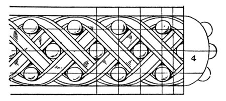 Antique Enrichment Torus Moulding with ribbons twisted in a plaited, eleventh to the fifteenth century, columns and pilaster, vintage line drawing or engraving illustration. Stock Vector - 132981172