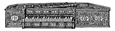Spinet is a keyed musical instrument much in use from 1500 to 1760, vintage line drawing or engraving illustration.