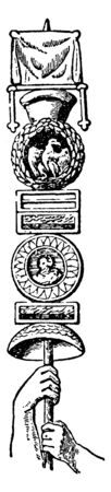 Roman Standard is a legionary known as an aquilifer, vintage line drawing or engraving illustration.