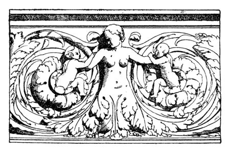 Half-Figure Relief was designed during the Italian Renaissance, vintage line drawing or engraving illustration. Ilustrace