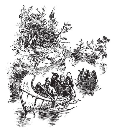 Marquette and Joliet are French explorers on the Wisconsin, vintage line drawing or engraving illustration.